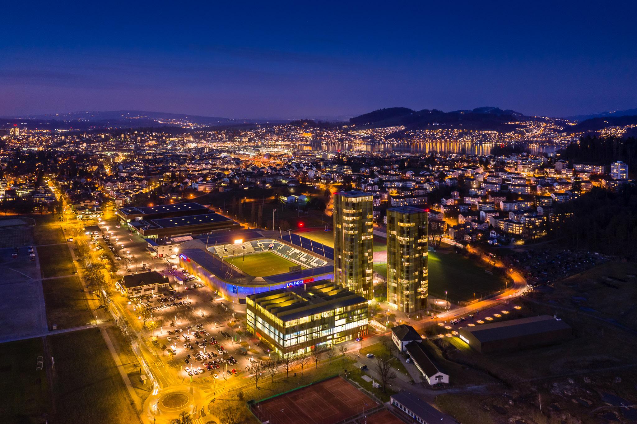 Allmend und Stadt Luzern in einer Luftaufnahme